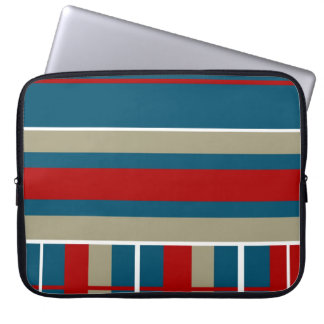 Cool Blue Red Tan White Striped Pattern Nautical Laptop Sleeve