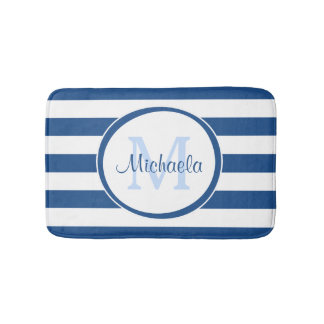 Cool Blue Rugby Stripes With Name and Monogram Bath Mat