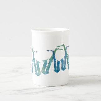 Cool Blue Saxophones Tea Cup
