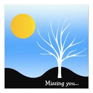 "Cool Blue Scene/Tree Silhouette Flat Greeting Card 5.25"" Square Invitation Card"