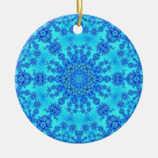 Cool Blue Snowflake Ceramic Ornament