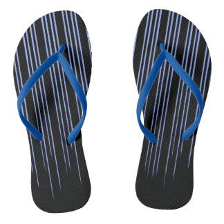 Cool Blue Striped Pattern Flip Flops