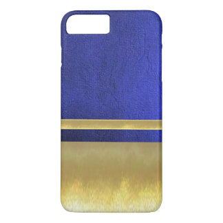 Cool Blue Suede Texture Gold iPhone 7 Plus Case