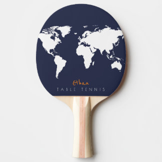 cool blue table_tennis paddle with world map