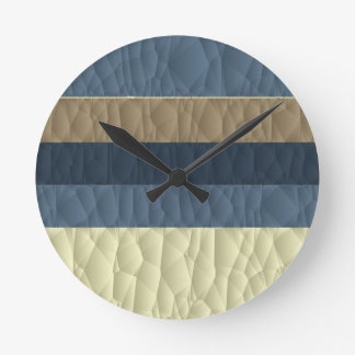 Cool Blue Taupe Color Pallet Quilted Round Clock