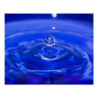 Cool Blue Water Droplet Poster