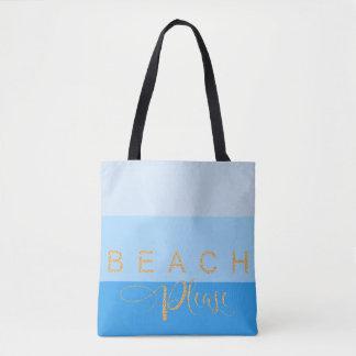 Cool Blue Waters Beach Please Gold Glitter Tote Bag