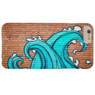 Cool Blue Waves Mural Wall Graffiti Barely There iPhone 6 Plus Case