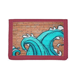 Cool Blue Waves Mural Wall Graffiti Tri-fold Wallet
