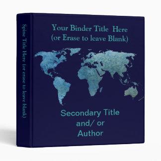 Cool Blue World Map Binders