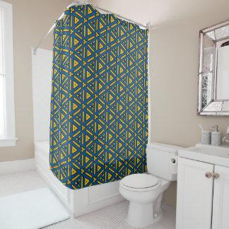 Cool Blue Yellow Triangle Geometric Shower Curtain