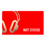Cool Bold DJ Gold Headphones Red Music Business Cards
