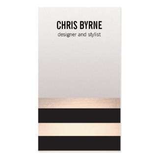 Cool Bold Modern Black and Rose Gold Striped Pack Of Standard Business Cards