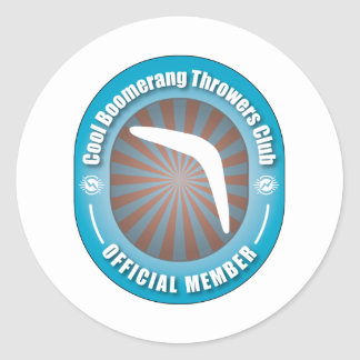 Cool Boomerang Throwers Club Classic Round Sticker