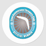 Cool Boomerang Throwers Club Round Stickers