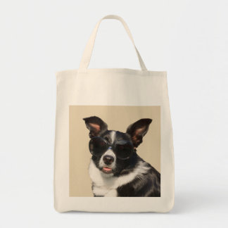 Cool border collie wearing sunglasses tote bag