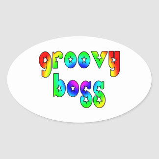 Cool Bosses Office Christmas Parties : Groovy Boss Oval Sticker