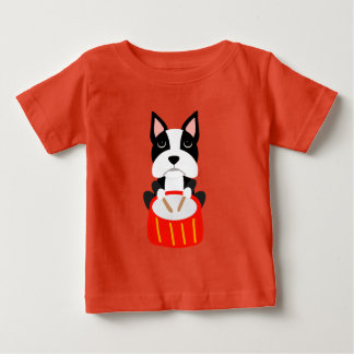 Cool Boston Terrier Dog Playing Drums Baby T-Shirt