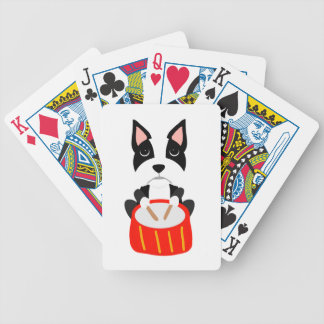 Cool Boston Terrier Dog Playing Drums Bicycle Playing Cards