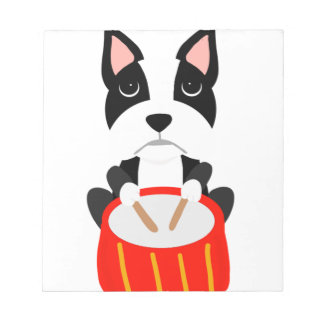 Cool Boston Terrier Dog Playing Drums Notepad