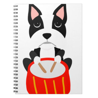 Cool Boston Terrier Dog Playing Drums Spiral Notebook
