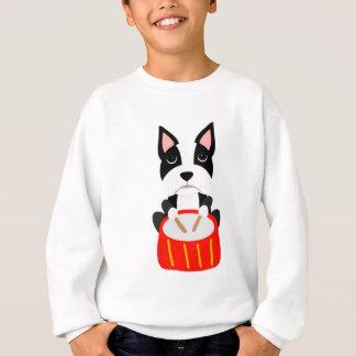 Cool Boston Terrier Dog Playing Drums Sweatshirt