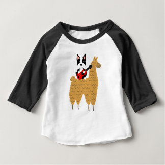 Cool Boston Terrier Playing Guitar Baby T-Shirt