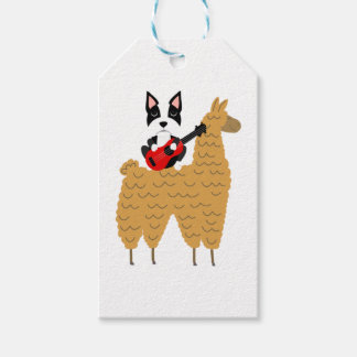 Cool Boston Terrier Playing Guitar Gift Tags