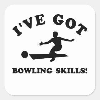 cool bowling designs square sticker