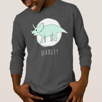 Cool Boy's Doodle Triceratops Dinosaur with Name T-Shirt
