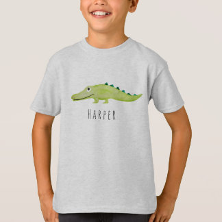 Cool Boy's Watercolor Crocodile Safari with Name T-Shirt