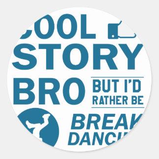 Cool break dancing designs classic round sticker
