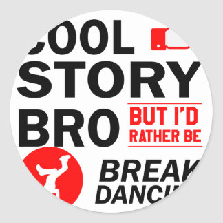Cool break dancing designs classic round sticker