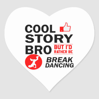 Cool break dancing designs heart sticker