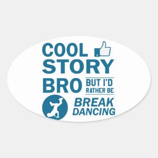 Cool break dancing designs oval sticker