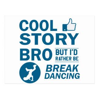 Cool break dancing designs postcard
