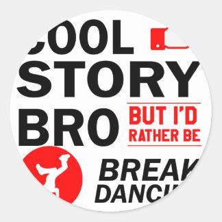 Cool break dancing designs round sticker