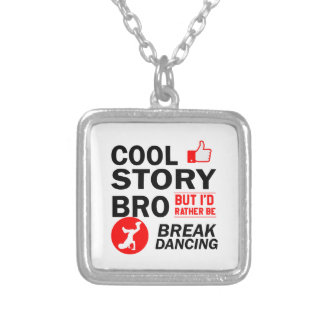Cool break dancing designs silver plated necklace