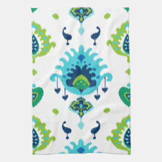 Cool bright blue and green tribal ikat print hand towels