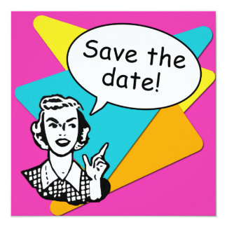Cool Bright Retro Save the Date Cards