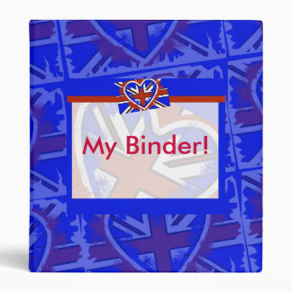 Cool British Flag Heart Design Binders