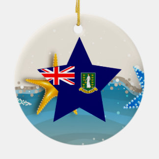 Cool British Virgin Islands Flag at the Beach Ceramic Ornament