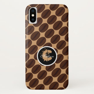Cool Brown Coffee Cup beans pattern Monogram iPhone X Case