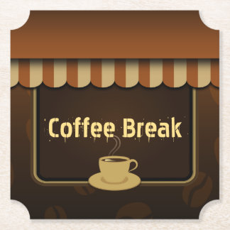 Cool Brown Coffee Shop Cafe Set of 6 Paper Coaster