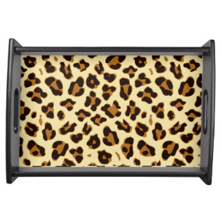 Cool brown leopard animal print serving tray