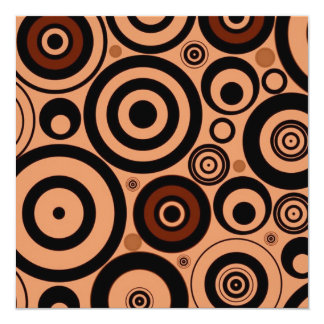 """Cool Brown Pattern Circles Vintage Style 5.25"""" Square Invitation Card"""