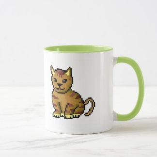 Cool brown pixel tabby cat mug