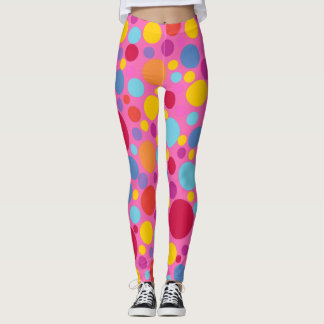 COOL BUBBLEGUM POLKADOT SUPER FUN LEGGINGS