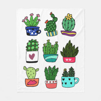 Cool cactus & pots pattern white fleece blanket