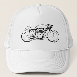 Cool Cafe Racer Motorcycle Drawing Trucker Hat